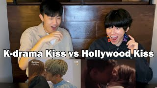 US vs K-dramas kiss scene l Korean guys react to love scene *GETTING HOT*