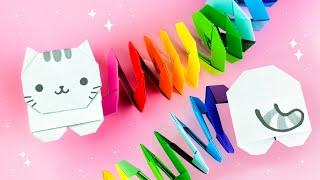 оРИГАМИ КОТИК РАДУЖНАЯ ПРУЖИНКА  DIY ИГРУШКА ИЗ БУМАГИ  ORIGAMI RAINBOW CAT
