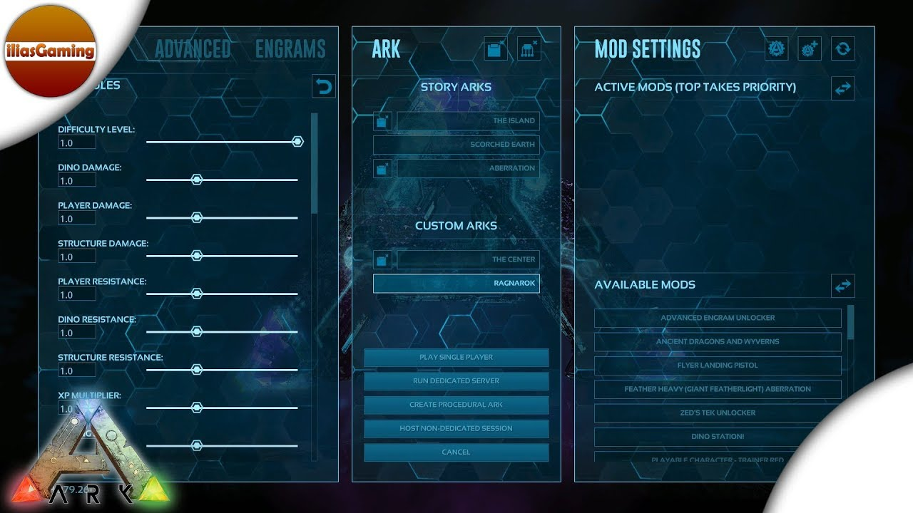 Single Player settings for ARK Survival Evolved (Greek)