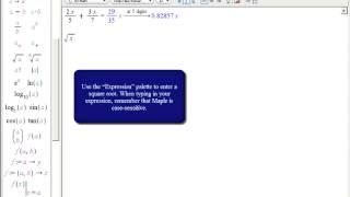 Training: Entering Math in Maple