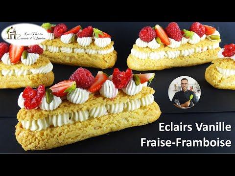 🍓-recette-Éclairs-vanille-fraise-framboise-simple-et-rapide-🍓