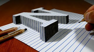 Draw a Letter N on Line Paper   3D Trick Art
