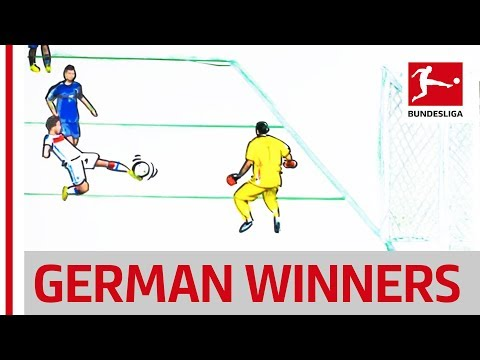 Germany's world cup winning goals - götze, brehme, müller & rahn - drawn and animated