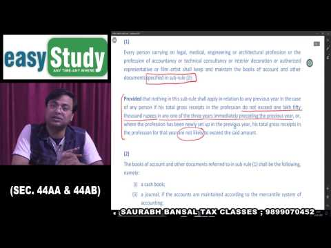 Sec. 44AA & 44AB as amended by Finance Act, 2016 for CA - Final May/Nov. 2017...