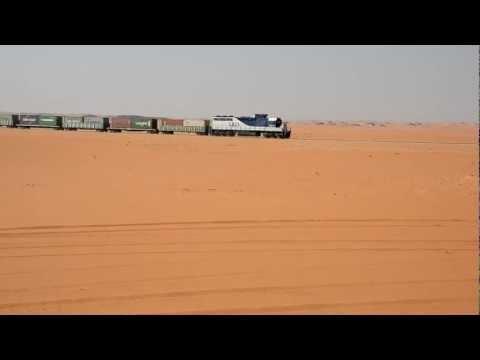 Cargo train in desert Saudi Arabia