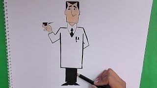 Como dibujar a Profesor Utonio (Chicas Super Poderosas) - How to draw a Professor Utonio