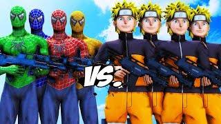 TEAM SPIDER-MAN VS NARUTO ARMY - EPIC BATTLE
