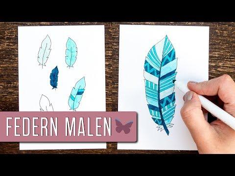 FEDERN Selber Malen | BULLET JOURNAL Doodles Deutsch