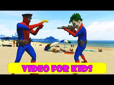 Policeman Spiderman and Policeman Joker with Police Car Cartoon For Kids!