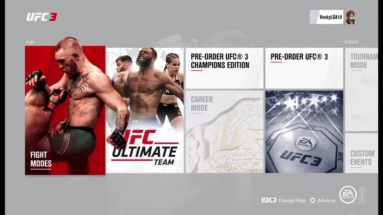 Ea Sports Ufc 3 Beta Full Main Menu Youtube