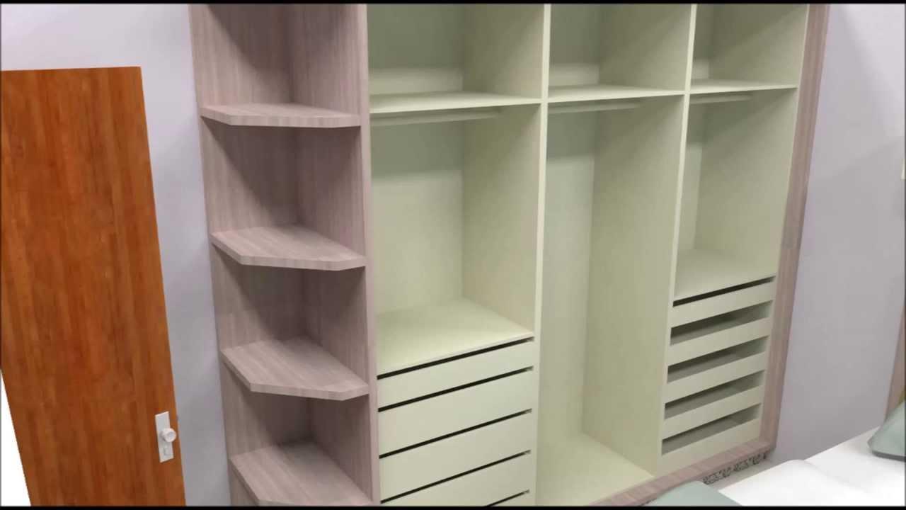 moveis planejados quartos YouTube ~ Quarto Planejado Com Guarda Roupa Em L