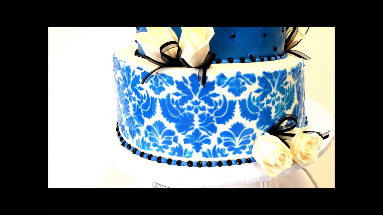 Damask Pattern Wedding Cakes