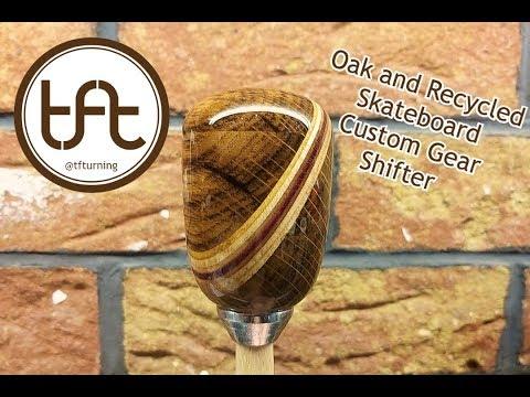 How I made a Custom Oak Shifter/Gearknob with a skateboard stripe.