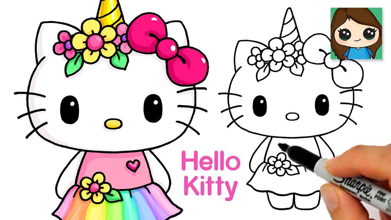 How To Draw Unicorn Hello Kitty Youtube