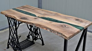 Epoxy River Table Build with Sewing Machine Base