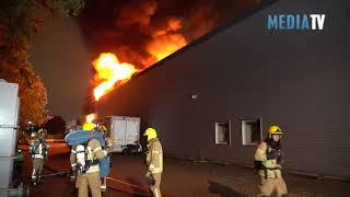 Grote brand in bedrijfspand Linschotenstraat Rotterdam