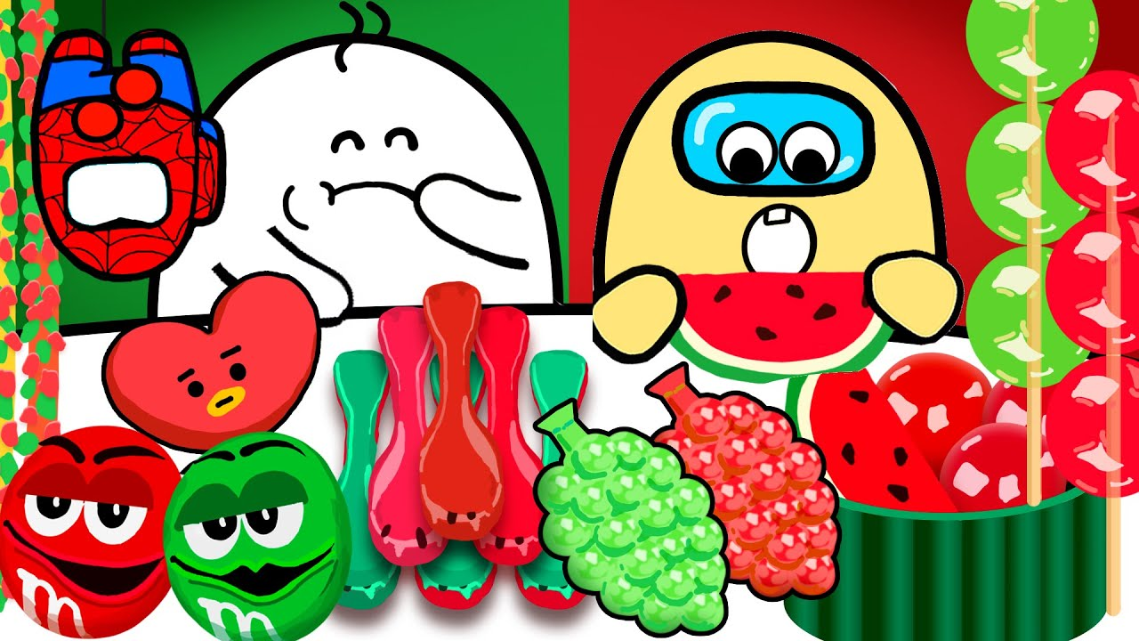 Red VS Green Food Mukbang 빨간색 초록색 먹방 [스파이더맨&어몽어스]