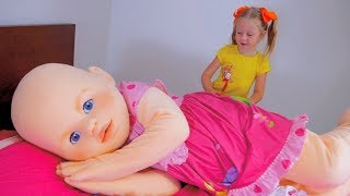 Nastya pretend play with funny big baby doll