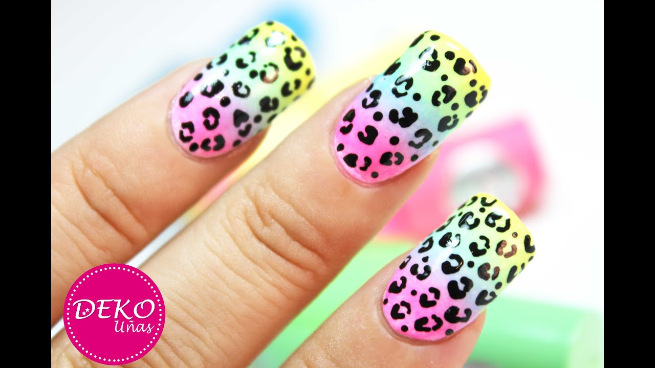 Acid Leopard Nail Art Tutorial , Decoracion de uñas animal print leopardo neon , YouTube