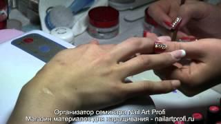 Дизайн ногтей графический градиент. Омбре гель лаком. Амбре видео(Фрагмент семинара