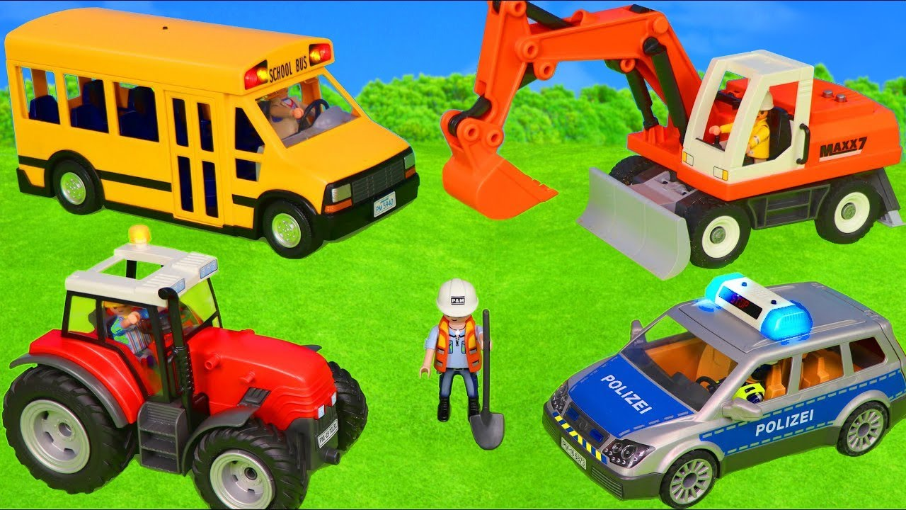 Playmobil City Toys for kids عجلات على متن الحافلة مع حفارات وجرار وشاحنات ومركبات ألعاب
