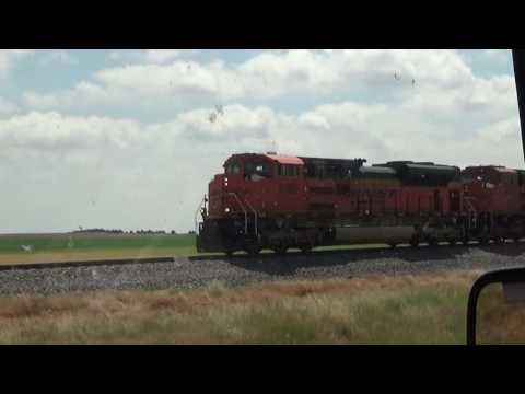 Passing BNSF Coal train with Triple SD70ACe's: Alliance Nebraska