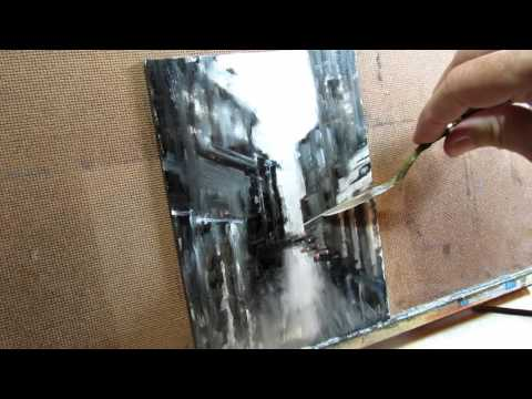 Rainy Day how to city street art Oil Painting Demo