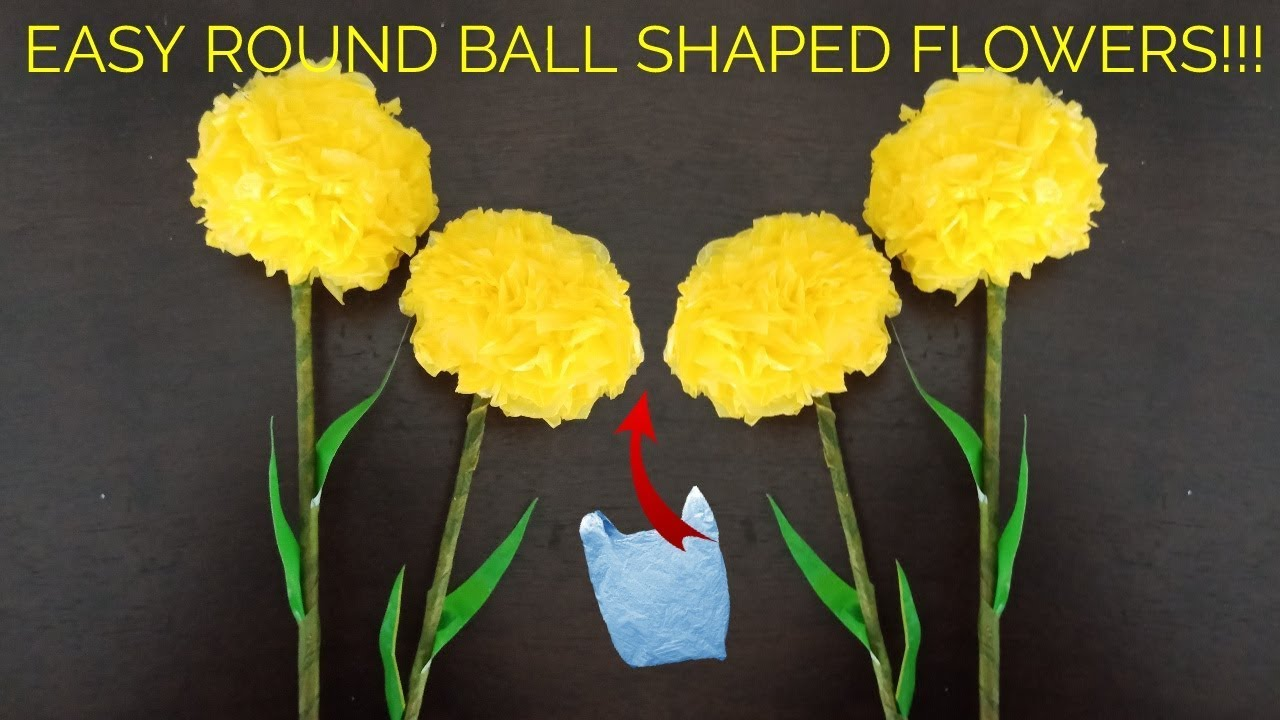 Diy Perfect Round Marigold Or Pompom Flowers From Plastic Carry Bags