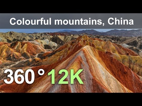 China, Colourful mountains of the Zhangye Danxia Geopark, 12K aerial 360 video
