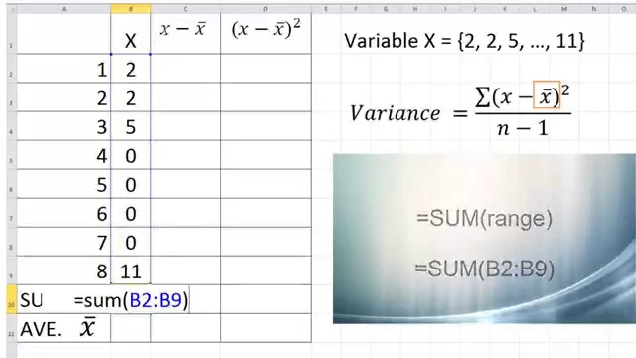 Calculate Variance With Excel (pc), Numbers (mac) Or Openoffice (pc & Mac)