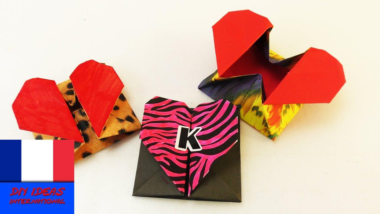 diy origami box avec une fermeture en coeur id e cadeau super chouette rangement enveloppe. Black Bedroom Furniture Sets. Home Design Ideas