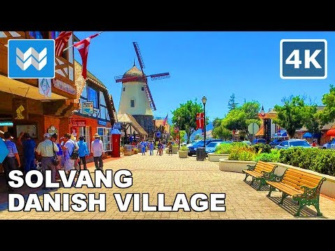 Walking around the Danish Village in Solvang, California 【4K