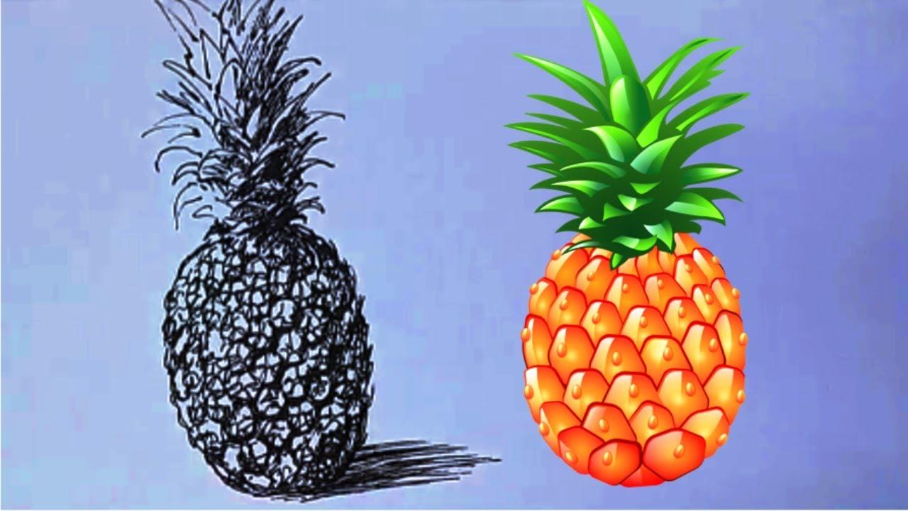 Как нарисовать АНАНАС ЛИНЕРОМ! Учимся рисовать АНАНАС ЛИНЕРОМ! Как Научиться РИСОВАТЬ