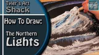 How to Draw a Mountain Scene with Northern Lights