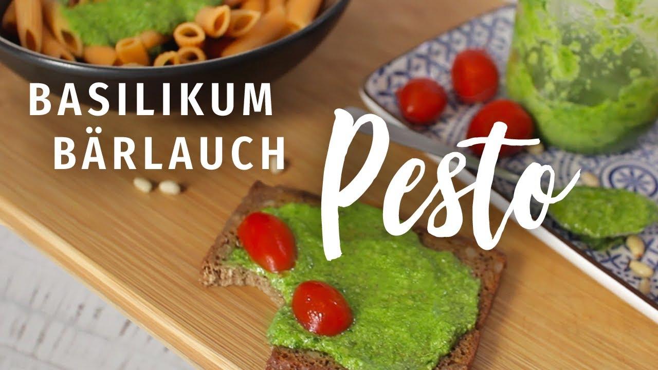 Pesto mit Basilikum - Thermomix bzw. Mixer-Rezept mit Bärlauch! | vegan, schnell & einfach!