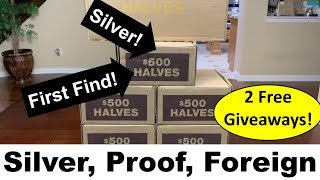 Found Silver And Proof Coin Roll Hunting Half Dollars! Free Giveaways!