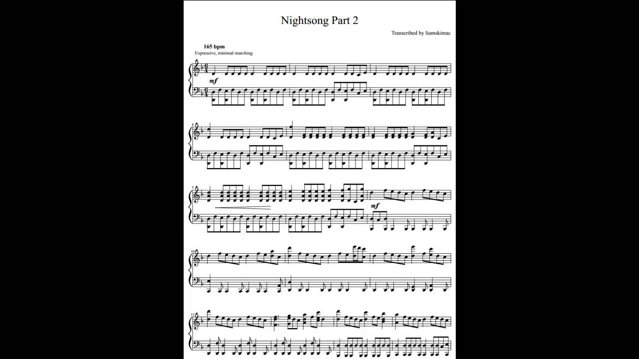 nightsong part 2 piano sheet music world of warcraft