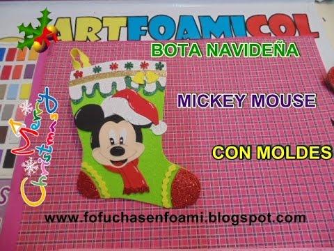Nueva Bota Navidena Mickey Mouse De Disney En Foamy Con Moldes Youtube