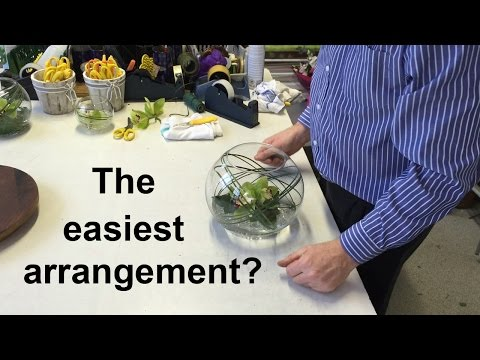 How To Make A Simple Cymbidium Fishbowl Arrangement - The Easiest Arrangement Ever? -