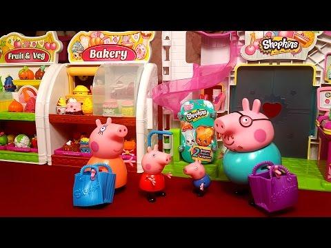 Свинка Пеппа в супермаркете. Открываем корзиночки с Шопкинс 3 серия. Мультик с игрушками