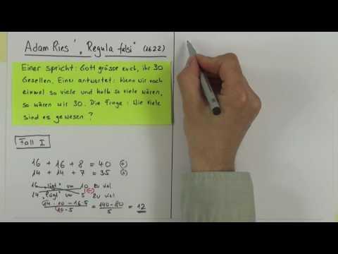 Wie Adam Ries eine Aufgabe mit der «Regula falsi»löst