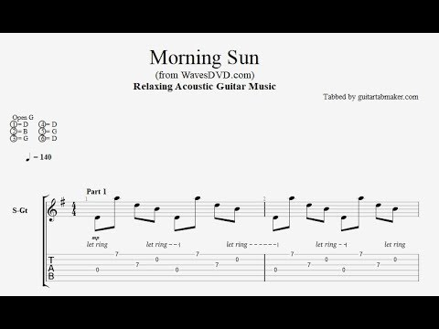 Relaxing Acoustic Guitar TAB - Morning Sun - acoustic fingerpicking guitar tab - PDF - Guitar Pro