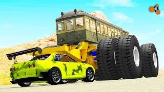 Beamng drive - Giants Machines Crushes Cars (Giants Wheels crush cars)