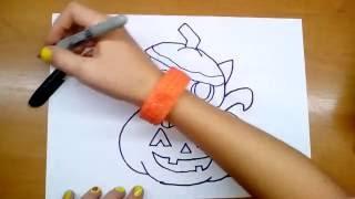 Кот в тыкве - рисунок на Halloween