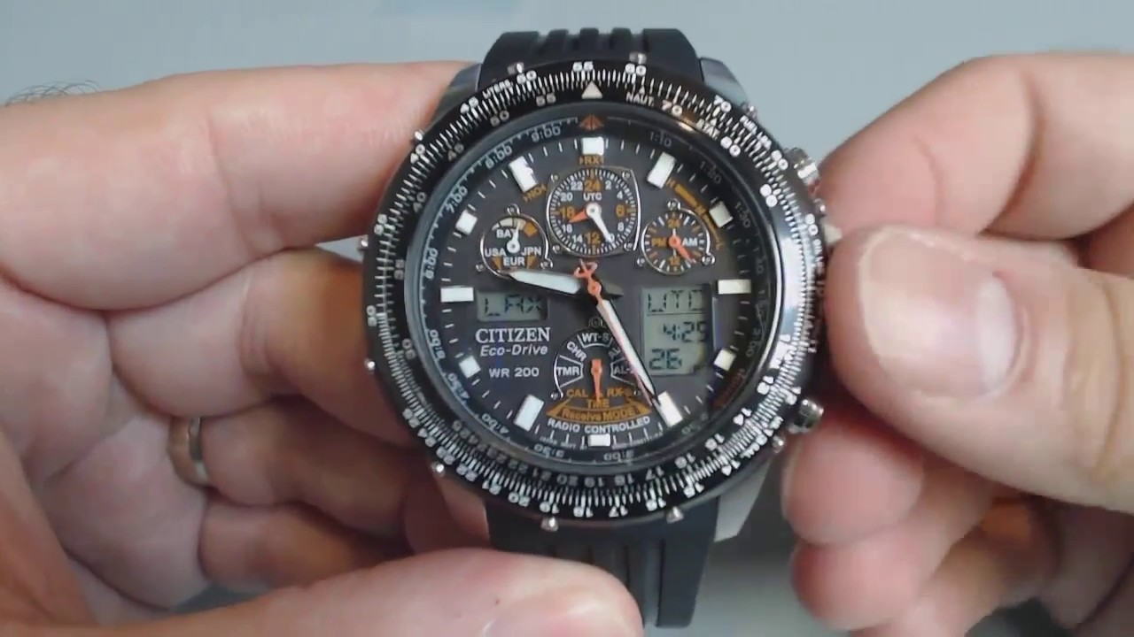 0d5c7235ff3 Men s Citizen Skyhawk A.T Flight Chrono Atomic Watch JY0000-02E - YouTube
