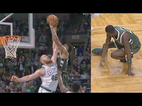 Giannis Antetokounmpo Alley Oop Poster 37 Points! Bucks vs Celtics 2017-18 Season