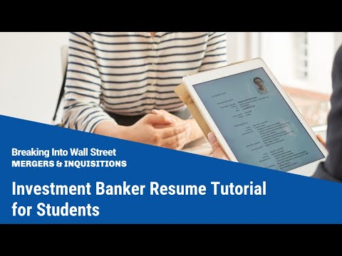 Investment Banker Resume Tutorial for Students (with FREE do