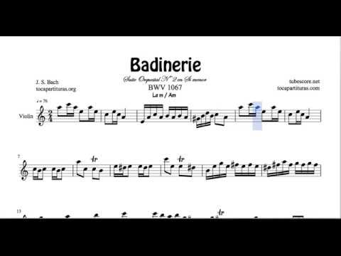 Badinerie Sheet Music for Violin in A minor for Violinists
