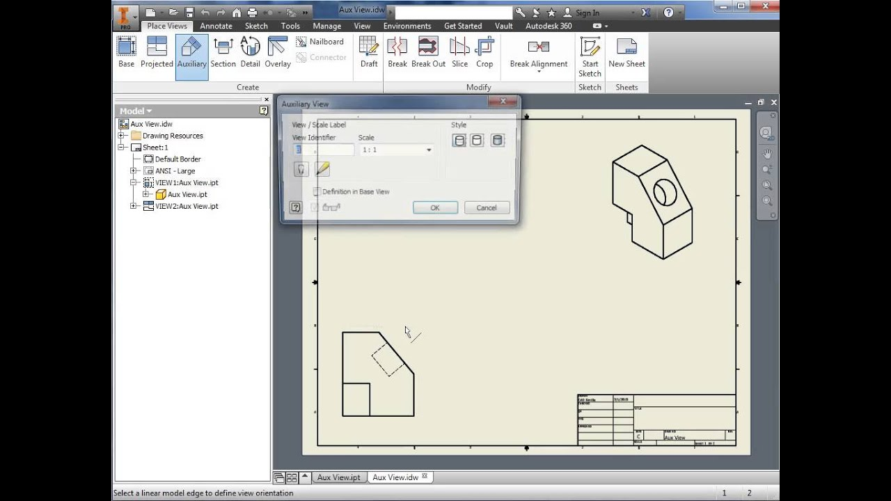 Auxiliary View in Inventor 2015 - YouTube