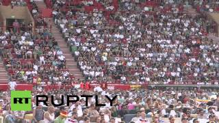 Germany: Fans celebrate German victory in stadium-size living room